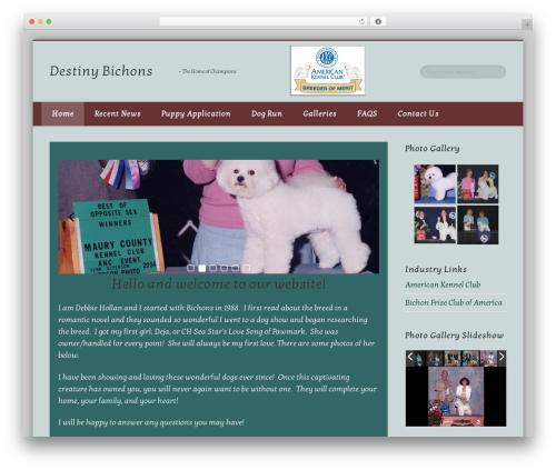 Pinboard WordPress website template - destinybichons.com