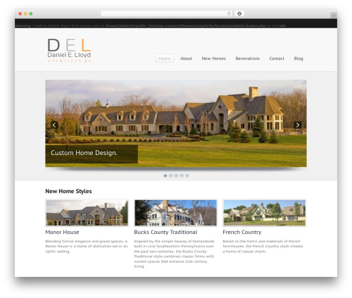 Simplicity WordPress theme - dlloydarchitect.com
