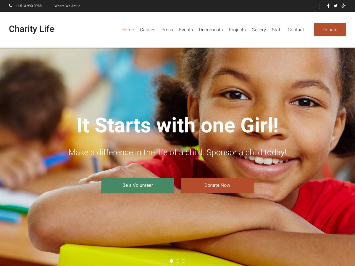 Charity Life WPL WordPress page template