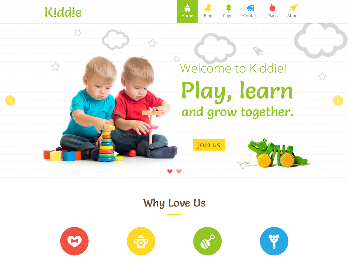 Kiddie WordPress page template