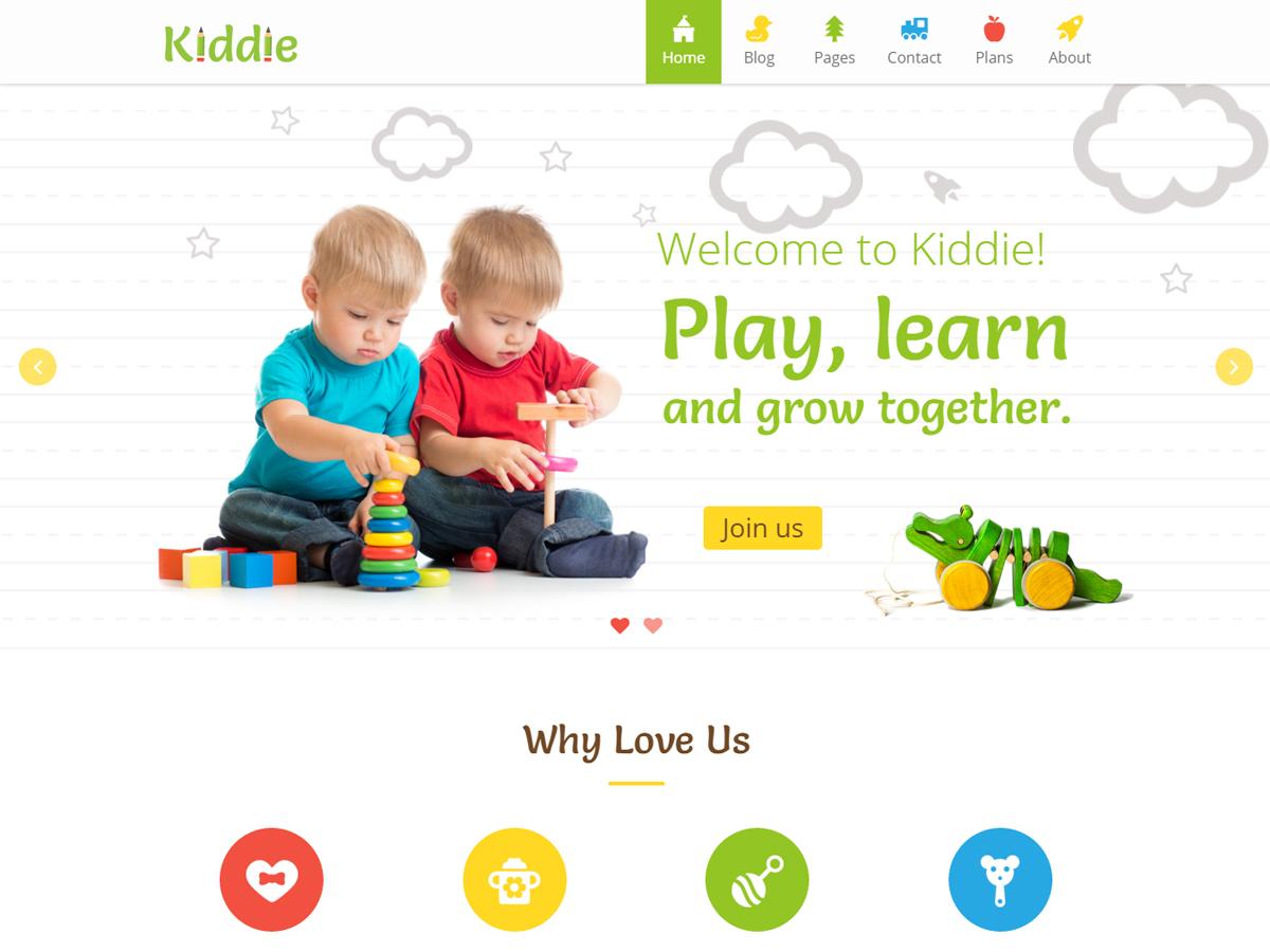 Kiddie WordPress page template