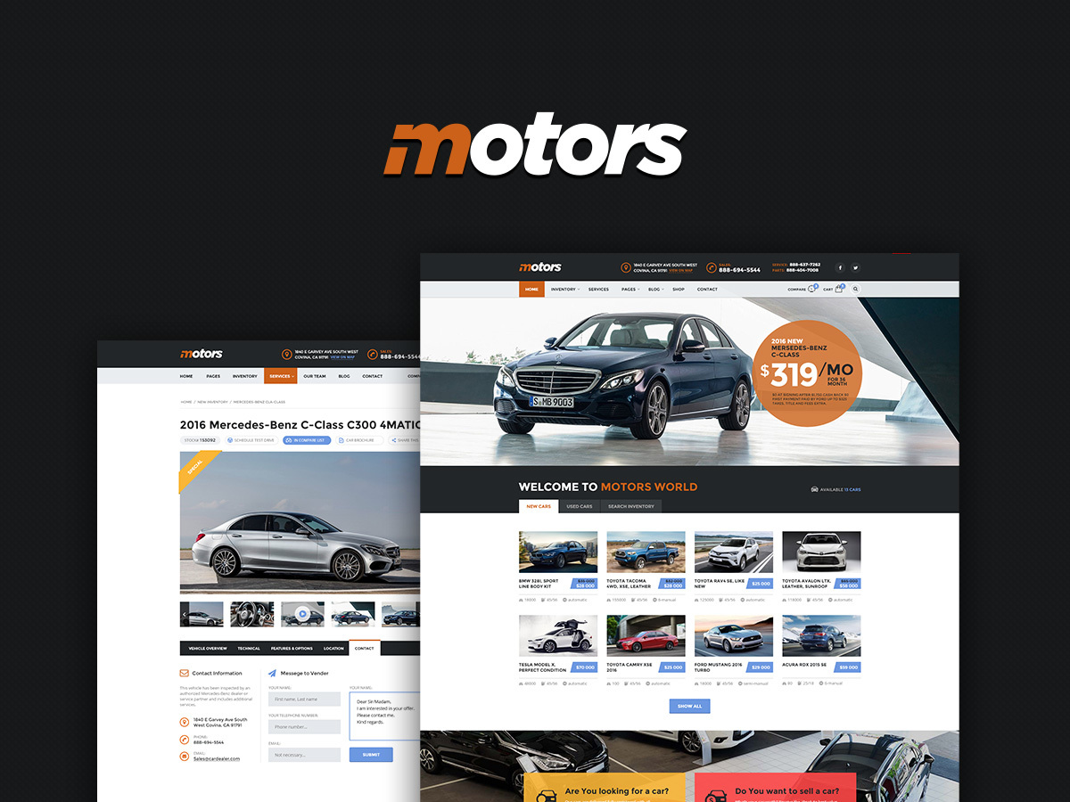 Motors - Child Theme car rental WordPress theme