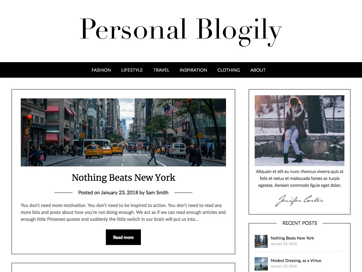 Personalblogily fashion WordPress theme