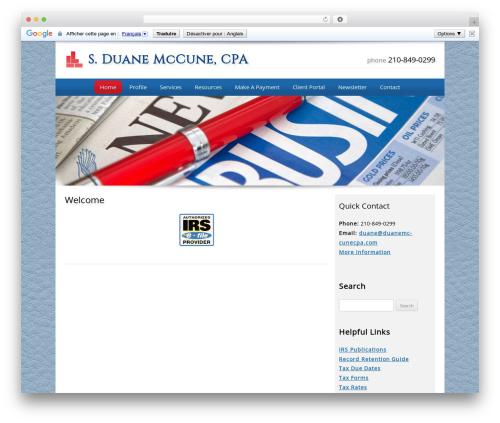 Customized WordPress template for business - duanemccunecpa.com