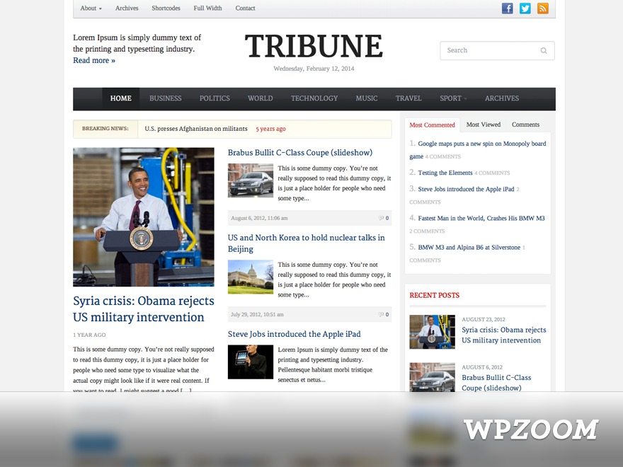 Tribune Theme WordPress page template