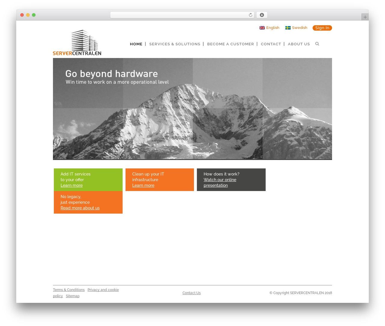 WordPress website template Bridge - servercentralen.se