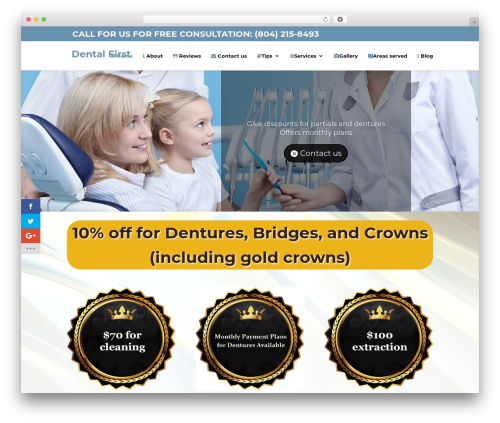 Divi best WordPress theme - dentalfirstva.com