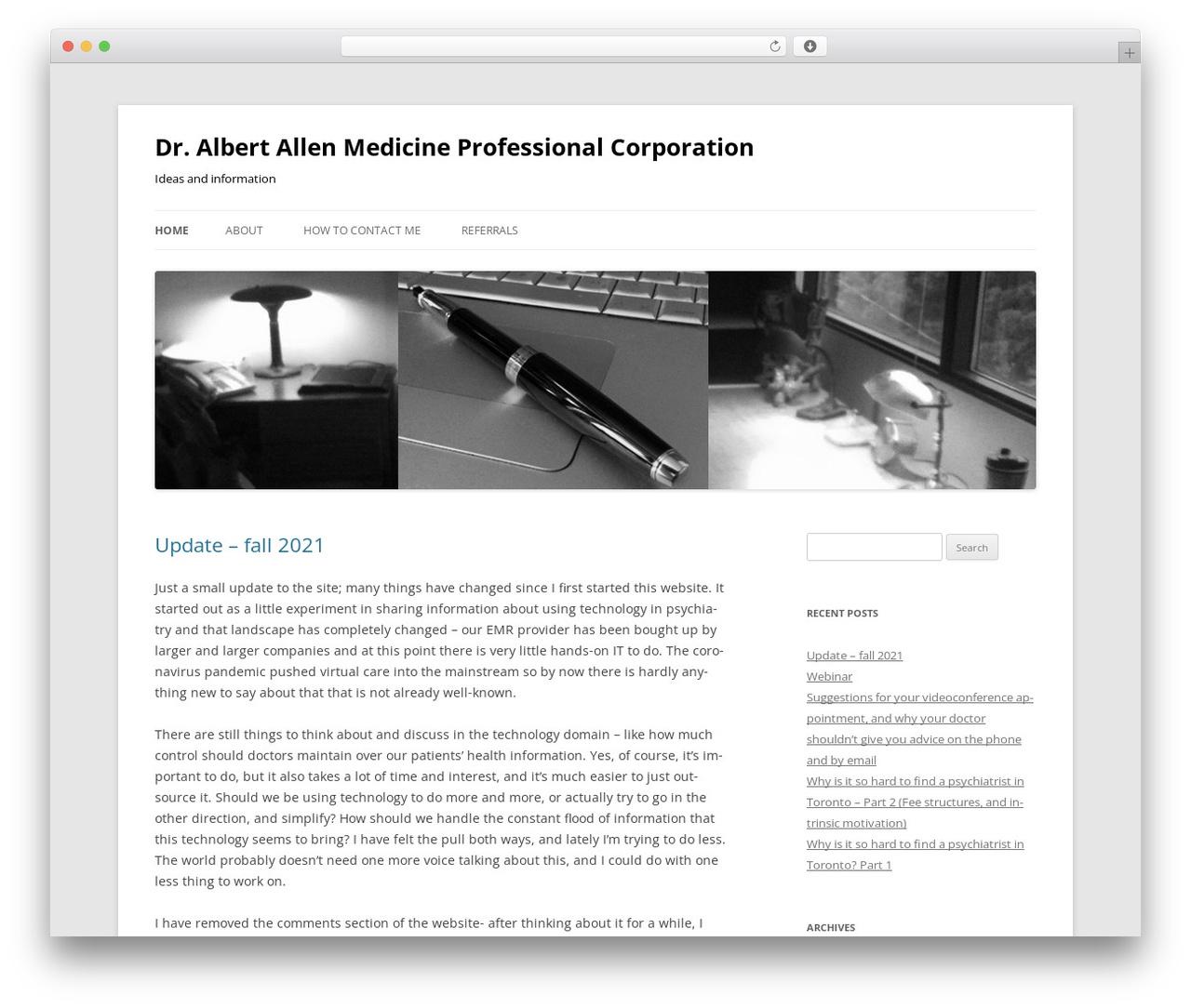 Twenty Twelve best WordPress template - dralbertallen.ca