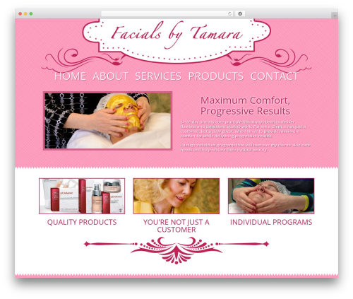 Best WordPress template Facials by Tamara - facialsbytamara.com