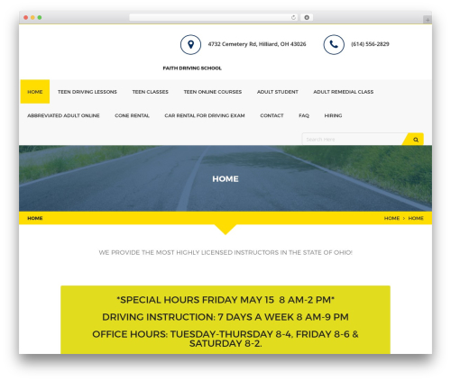 Drivepro best WordPress theme - faithdrivingschool.net