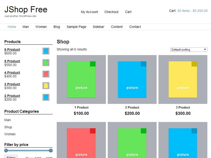 JShop PRO WordPress ecommerce theme