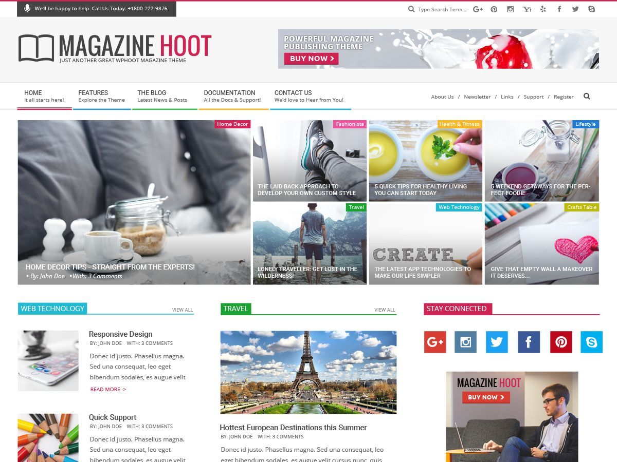 Magazine Hoot Premium WordPress news template