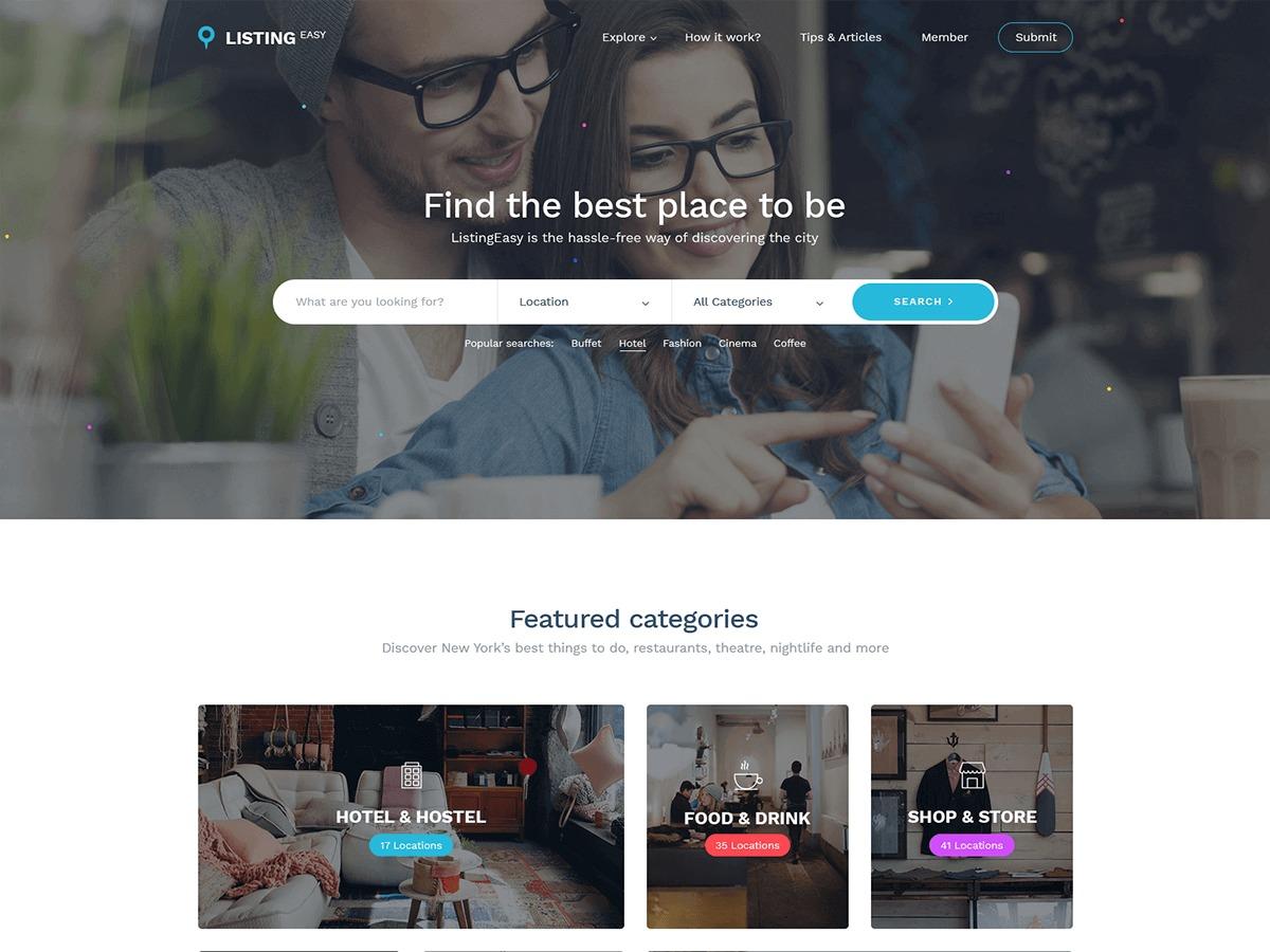 Best WordPress template ListingEasy - kings-theme.com