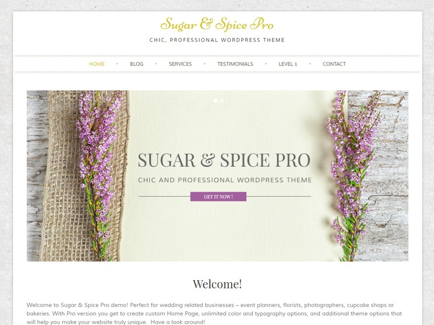 Sugar And Spice Photo WordPress template for business
