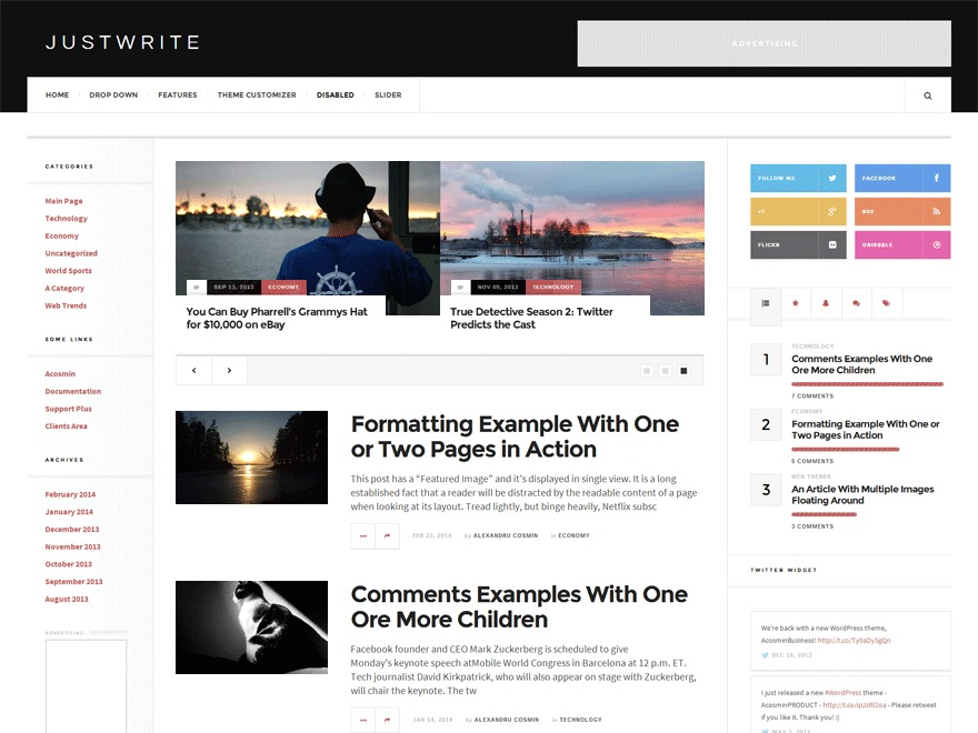 Justwrite Child WordPress page template