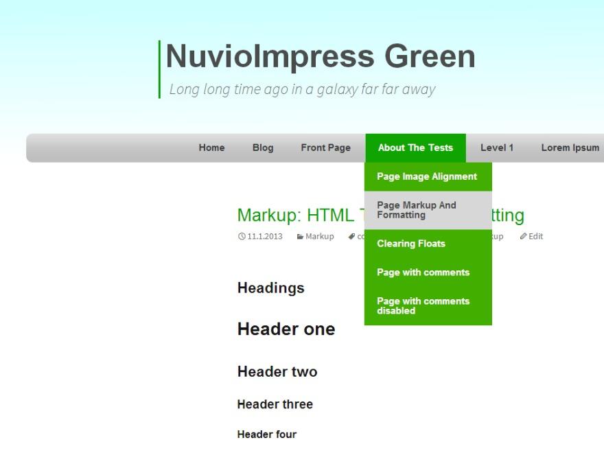 NuvioImpress Green WordPress template for photographers