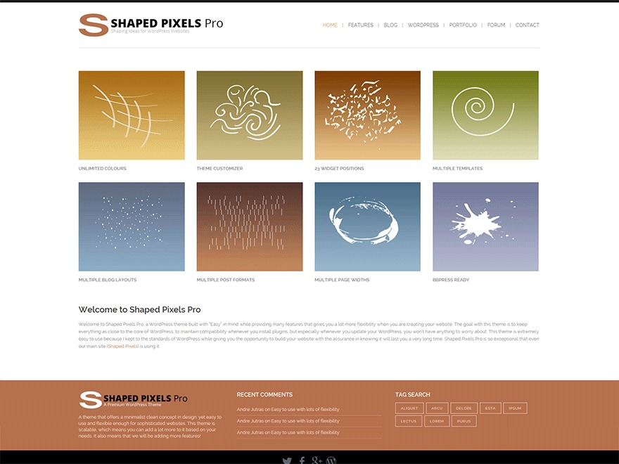 Shaped Pixels Pro WordPress blog theme