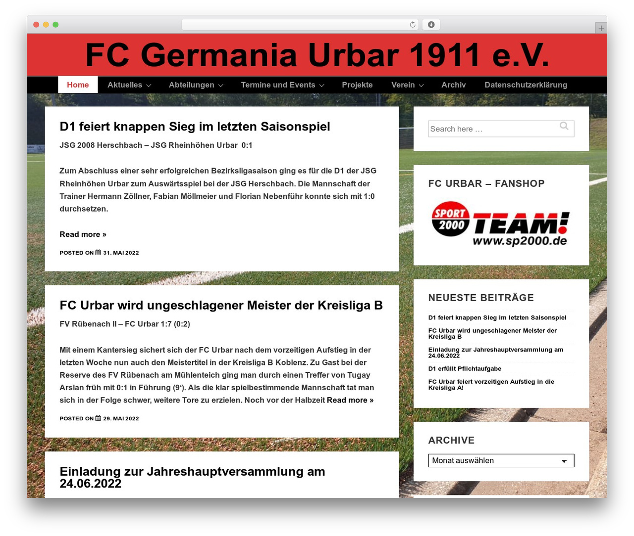 Template WordPress Responsive - fc-urbar.de