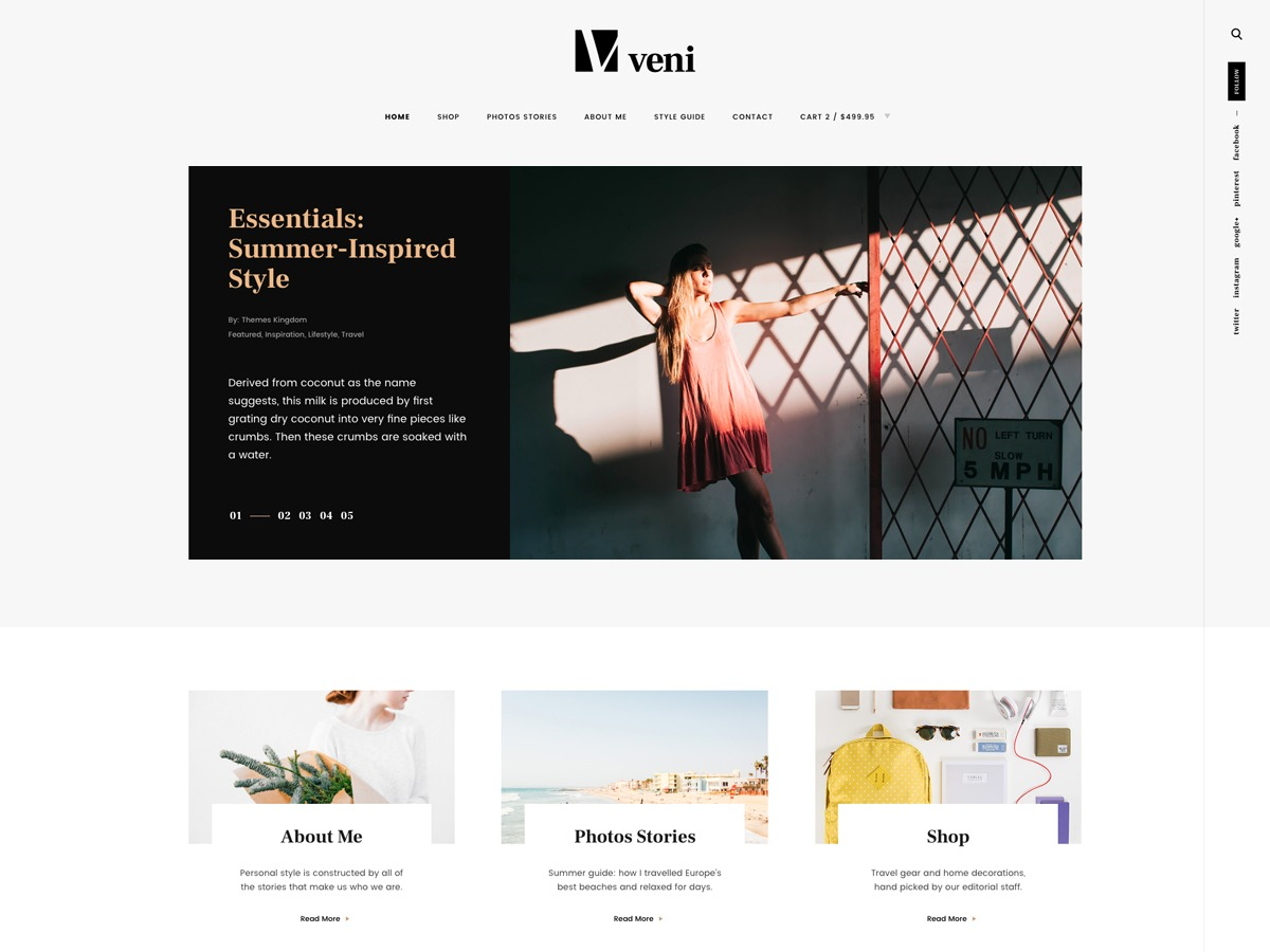 Veni WordPress blog template
