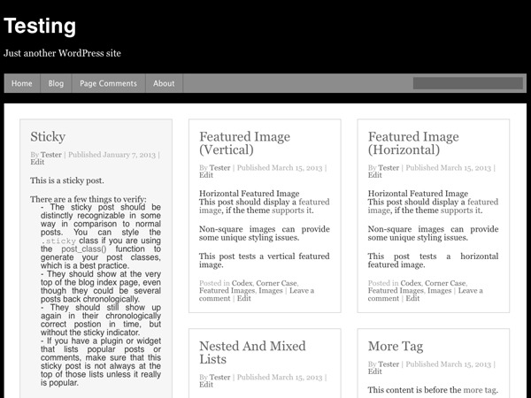 WordPress website template curation