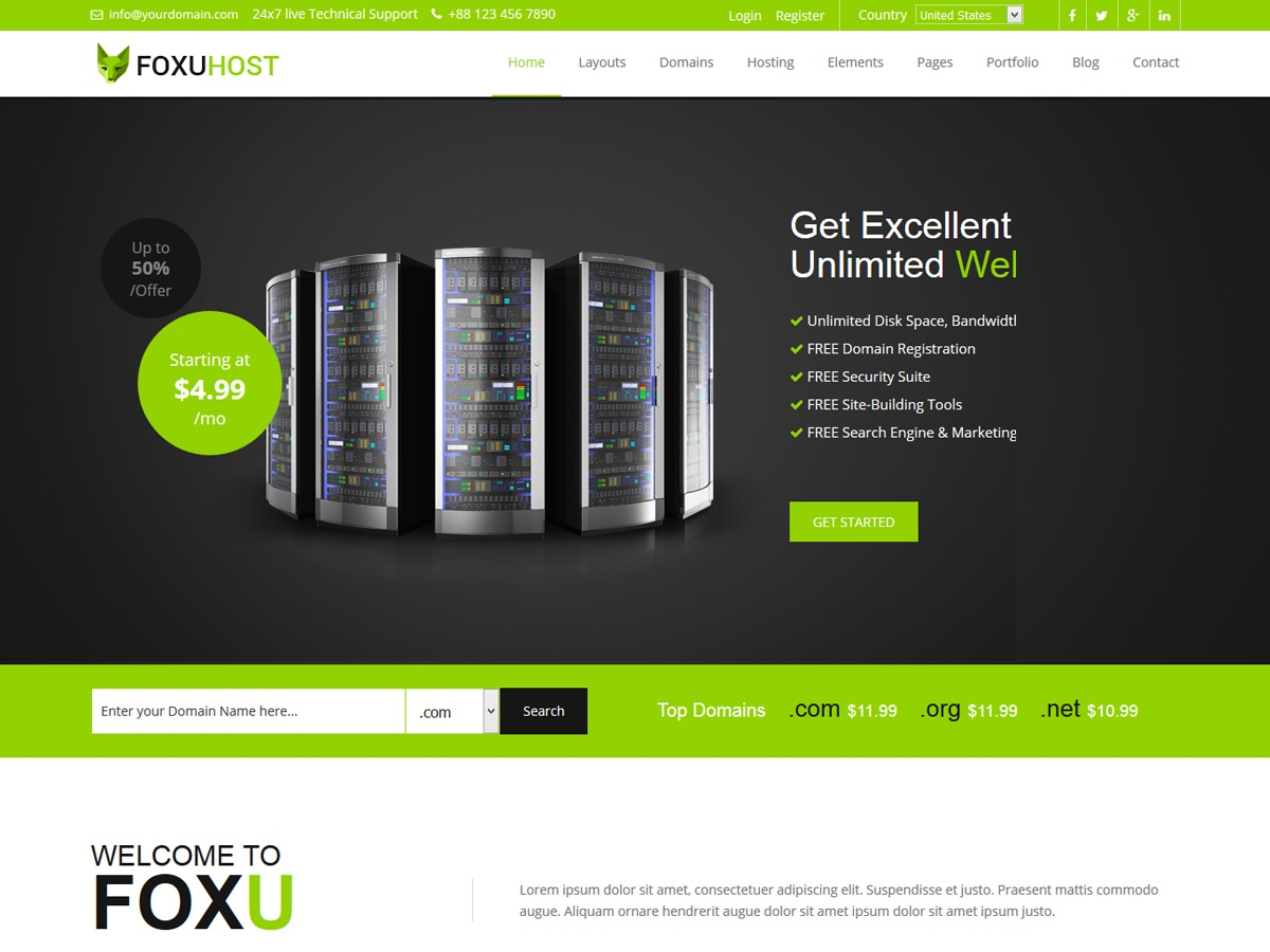 Foxuhost Hosting WordPress Theme best WordPress template