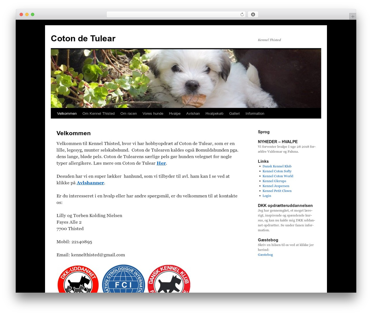 Twenty Ten WordPress website template - kennel-thisted-coton.dk