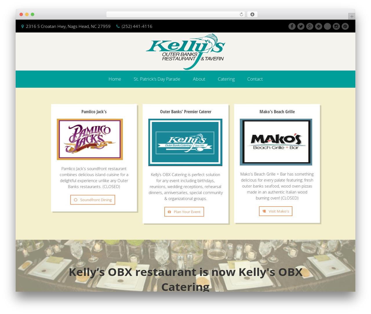 Garnish WordPress theme - kellysrestaurant.com