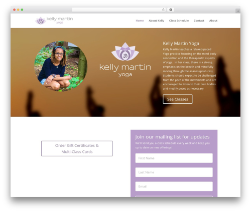 WordPress website template Divi - kellymartinyoga.com