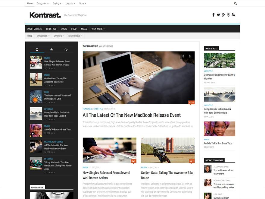 Kontrast newspaper WordPress theme