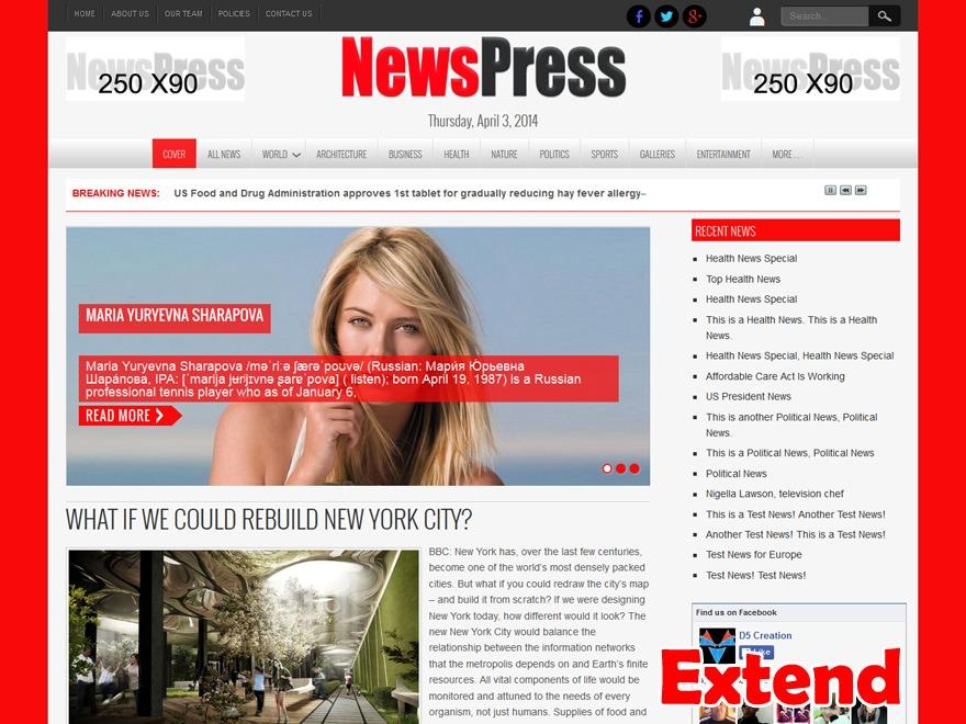 NewsPress Extend WordPress magazine theme