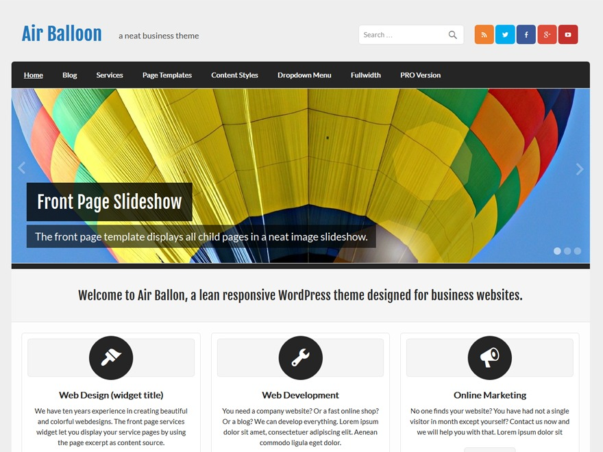Air Balloon WordPress blog theme