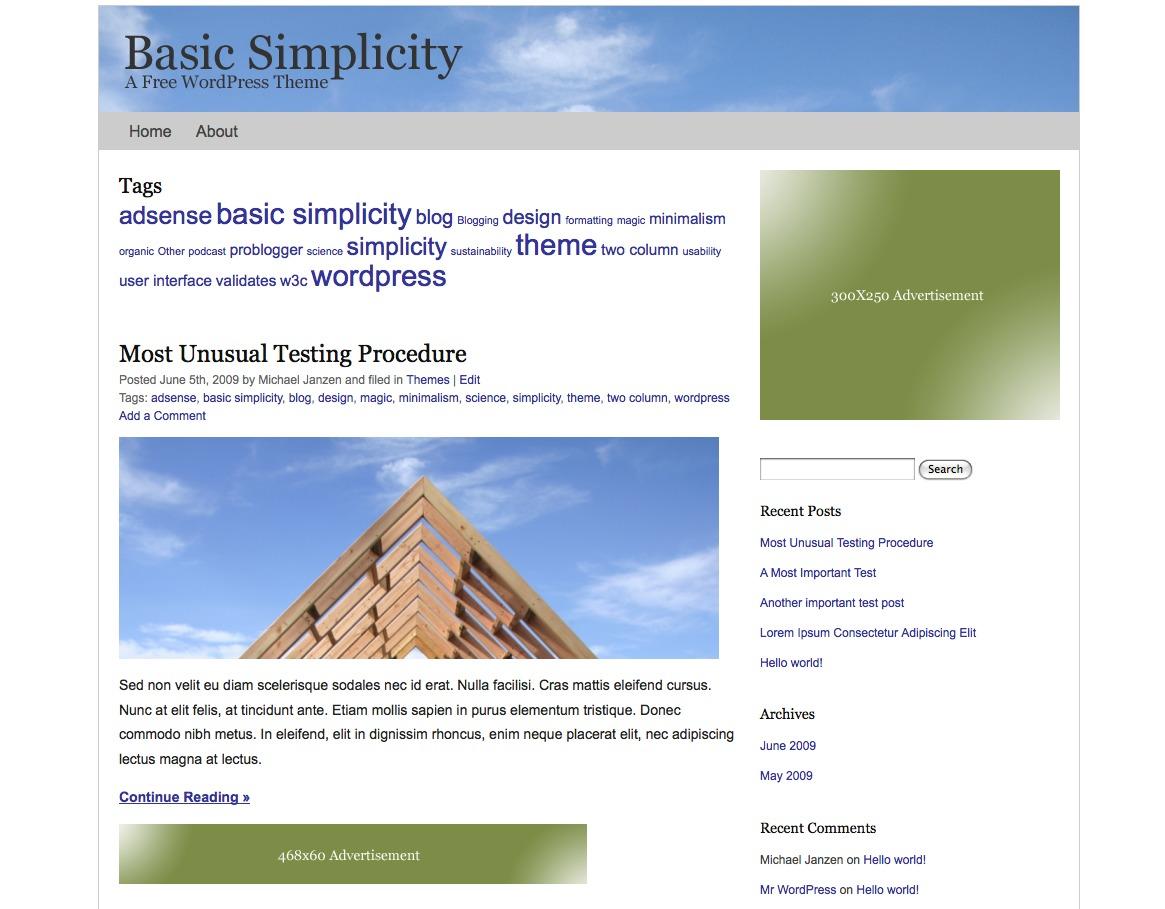 Basic Simplicity theme WordPress