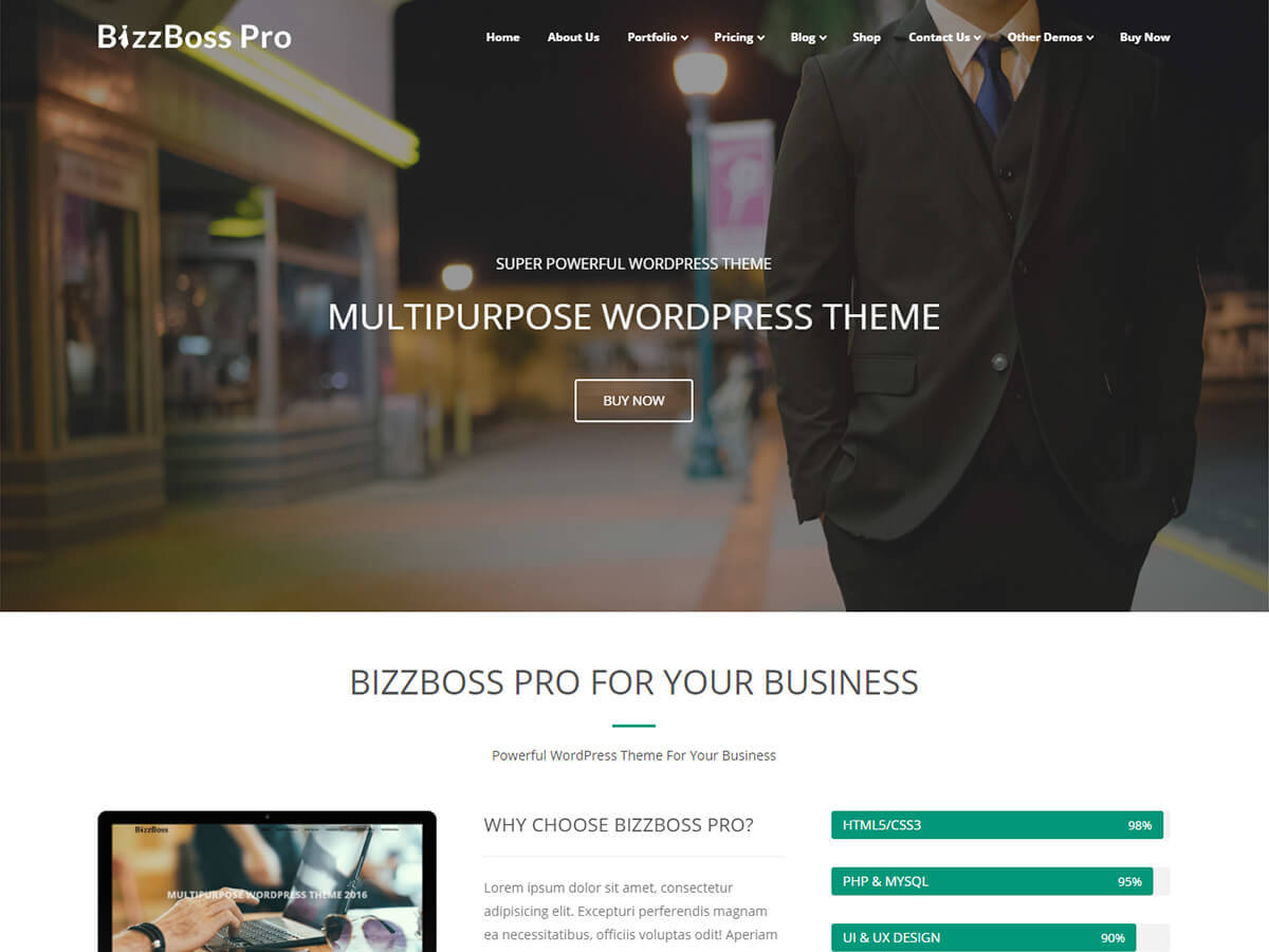 Bizzboss Pro company WordPress theme