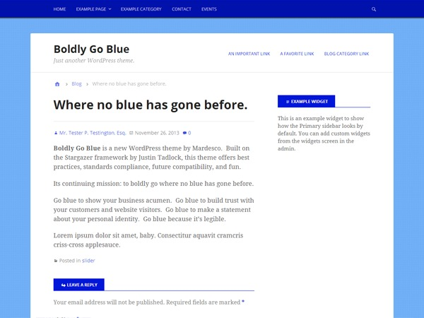 Boldly Go Blue company WordPress theme