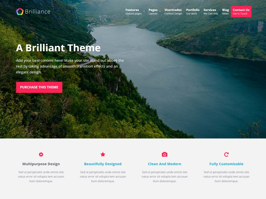 Brilliance template WordPress free