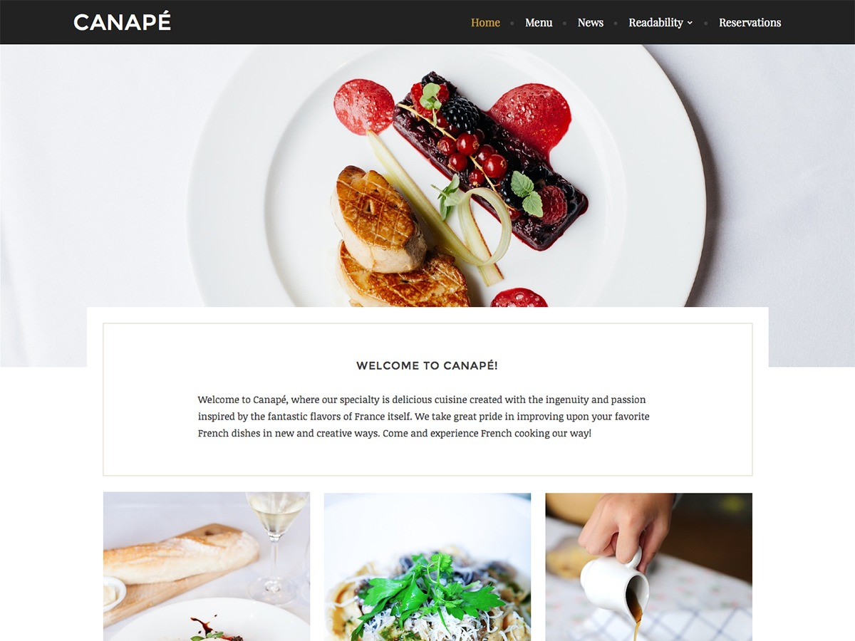 Canape free website theme