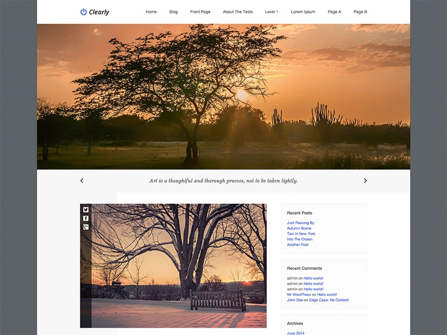 Clearly free WordPress theme