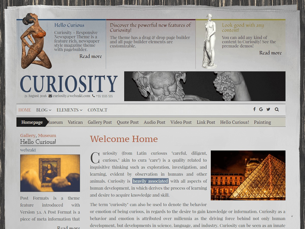 Curiosity Lite template WordPress free