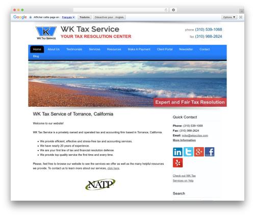 Customized business WordPress theme - wkacctax.com