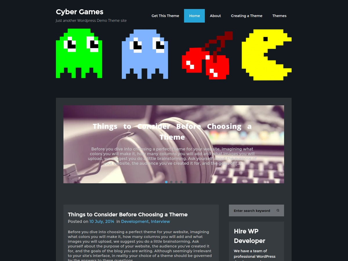 CyberGames wallpapers WordPress theme