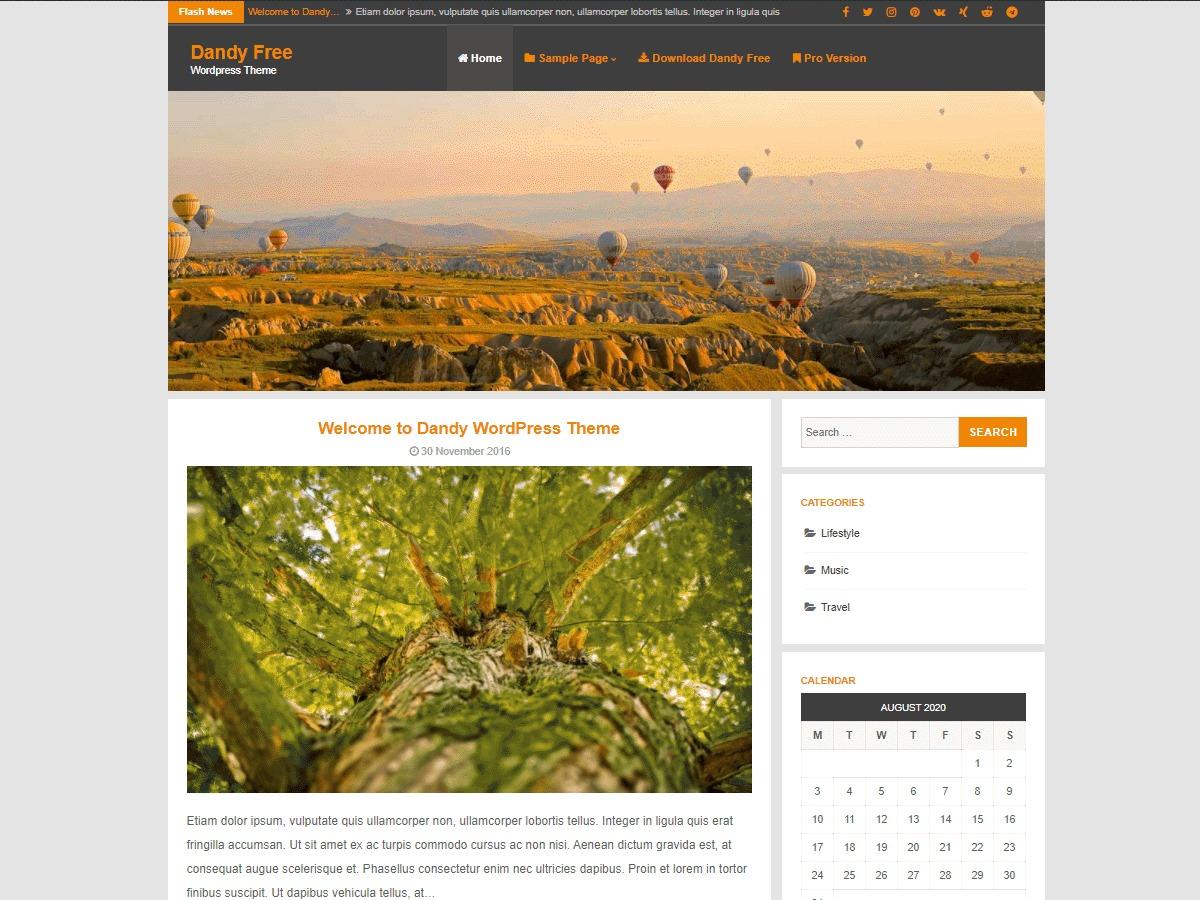 Dandy WordPress blog template