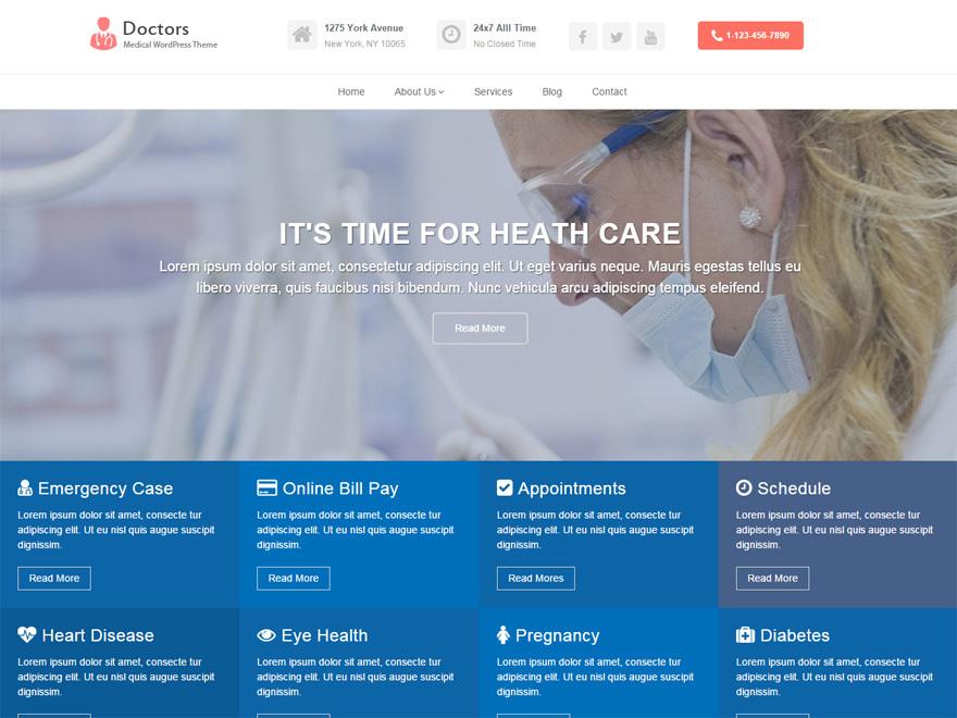 Doctors WordPress template free download
