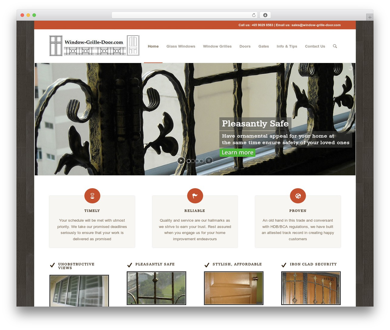 Enfold WordPress page template - window-grille-door.com