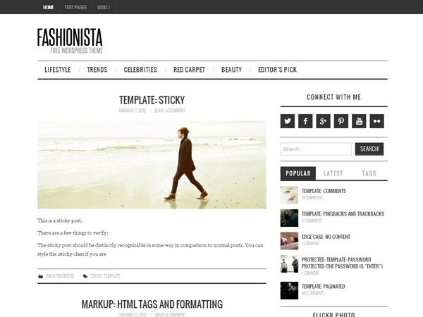 Fashionista WordPress news theme