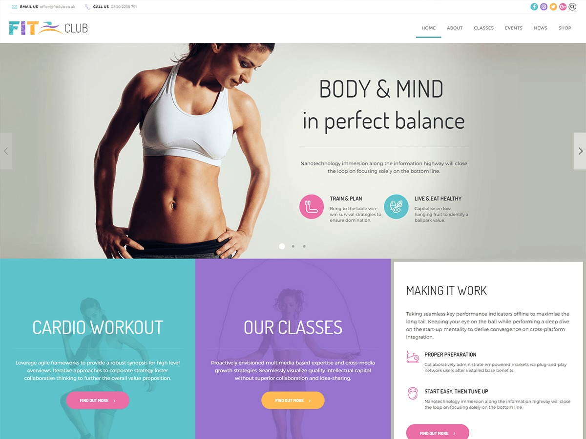 Fitness Club fitness WordPress theme