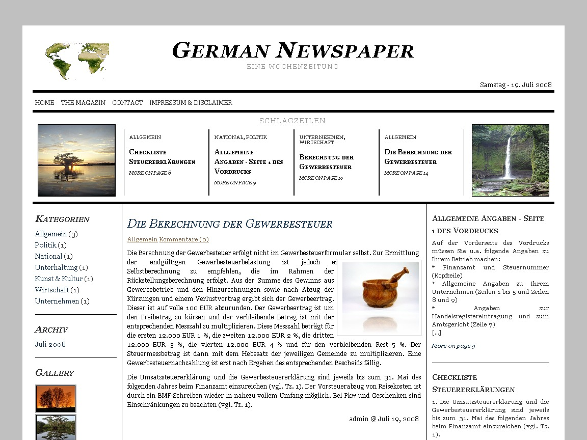 German Newspaper best WordPress magazine theme