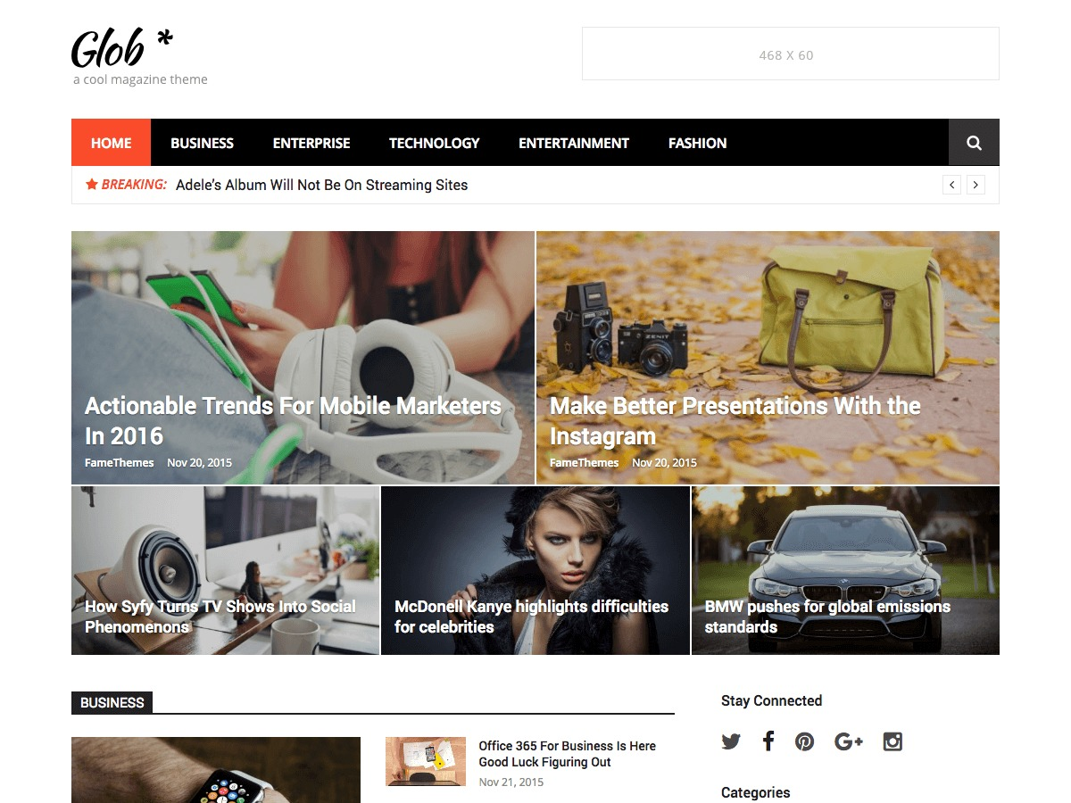 Glob Pro best WordPress magazine theme