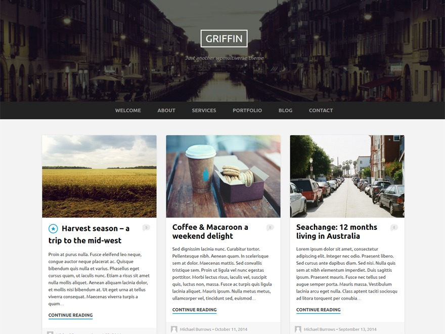 Griffin WordPress blog template