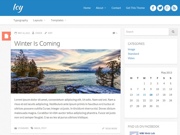 Icy WordPress blog template
