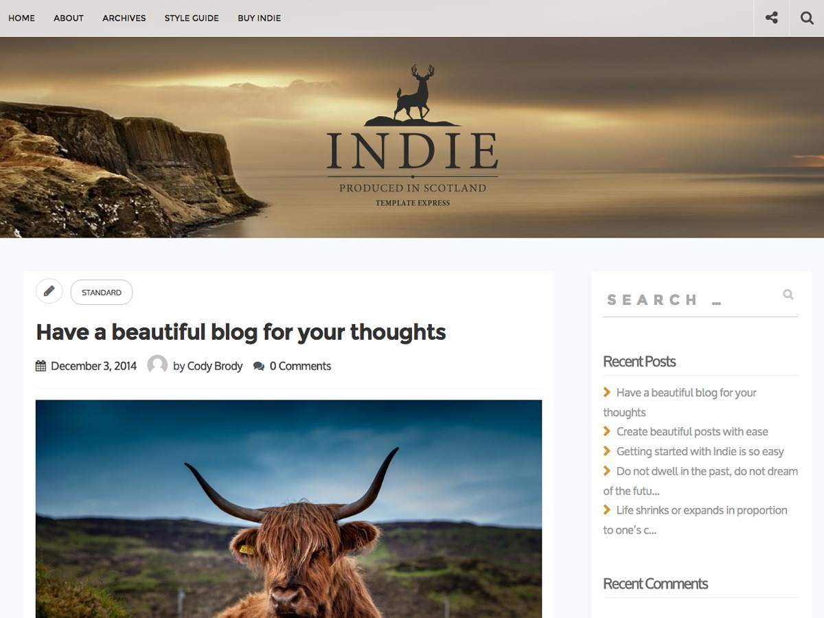 Indie WordPress blog template
